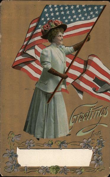 Woman Waving American Flag Greetings Patriotic