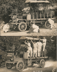 "Set of 2: ""Why The Chow Was Late""/""On Time"" Early Transport Truck Postcard"