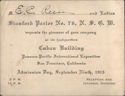 Stanford Parlor No. 76, N.S.G.W. Other Ephemera