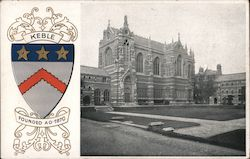 Crest of Keble College, date founded, and picture of the college. Postcard