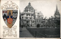 Crest of Brasenose College, date founded, and picture of the college. Postcard