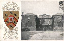 Crest of University of Worcester, date founded, and a picture of the university Postcard