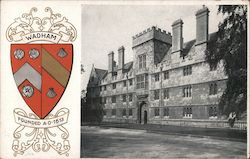 Crest of Wadham University, date when founded, and picture of the school Postcard