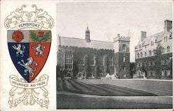 Crest of Pembroke along with a black and white photo of the building Postcard