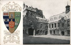 Crest of Lincoln University, date founded, and picture of the building Postcard