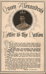Queen Alexandra and a letter she wrote to the nation in 1910. Postcard
