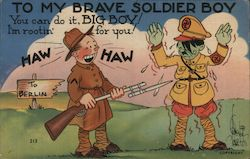 To My Brave Solider Boy Hitler Being Held at Gun Point Postcard