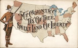 """My Country Tis of Thee, Sweet Land of Liberty""- US Map and Soldier"