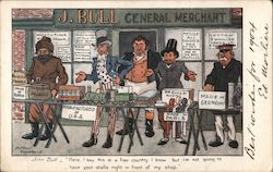 A cartoon of a merchants from around the world set up right in front of John Bull's store Postcard