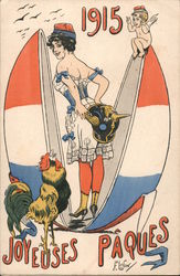 A Woman in an Egg Covered by the French Flag