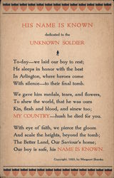 "The Unknown Soldier ""HIS NAME IS KNOWN"""