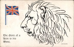 Picture of a lion with a British flag. Postcard
