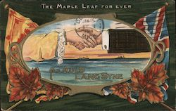 The Maple Leaf For Ever for Auld Lang Syne 2 hands shaking Postcard