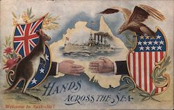 Hands Across the Sea; Welcome to Australia! Postcard