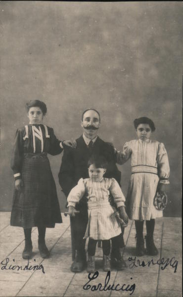 Italian Man With Mustache and Three Children Family Portaits