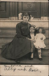 A Woman, Little Girl and a Doll on the Steps