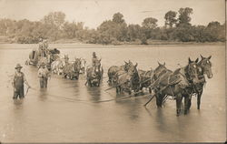 Men Helping Several Horses Cross a River