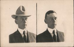 A Man Pictured Both With and Without a Hat Postcard