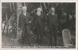 Thomas A. Edison, John Burroughs, and Henry Ford Postcard