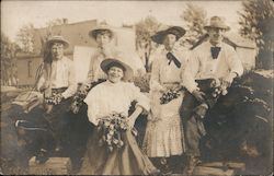 Men and Women - Hats and Bouquets of Tulips Postcard