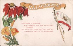 Symbols of California Postcard
