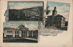 Tuolumne County Court House and High School Postcard