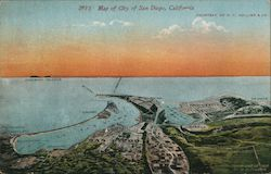 Map of city of San Diego, California Postcard