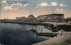 "The Giant Safety Racing Coaster, ""The Race Thru the Clouds"" Venice, CA Postcard"