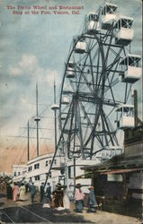Ferris Wheel and Restaurant Ship at the Pier Postcard