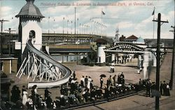 Miniature Railway & Entrance to Amusement Park Venice, CA Postcard