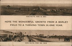 Note the Wonderful Growth From a Barley Field to a Thriving Town in One Year Postcard