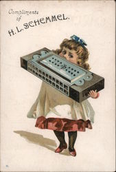 Girl with Huge Harmonica - Compliments of H.L. Schemmel