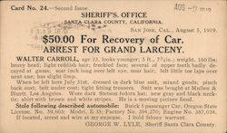 Walter Carroll - Wanted for Grand Larceny Postcard