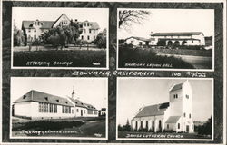 Atterdag College, American Legion Hall, Solvang Grammar School, Danish Lutheran Church Postcard