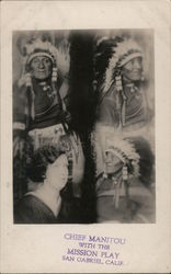 Chief Manitou with the Misson Play Postcard