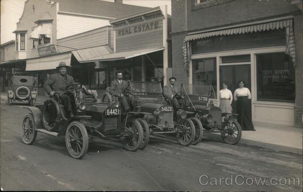 Three Early Autos on Street Campbell California