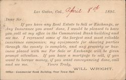 Advertisement for Will Wright, Real Estate and Insurance Sales 1895 Postcard