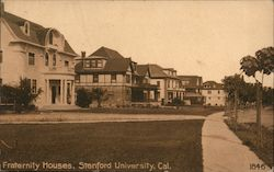Fraternity Houses, Stanford University Postcard