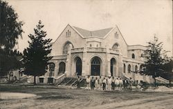 United Methodist Church being Constructed, Workmen Postcard