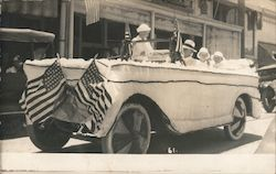 Parade Float Car with American Flags Postcard