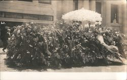 Black and White Photo of Floral float in parade Postcard