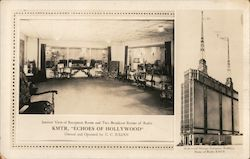 "Interior View of Reception Room and Two Broadcast Rooms of Radio - KMTR ""Echoes of Hollywood"" Postcard"