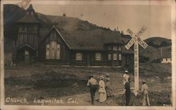 Church, Railroad Crossing Postcard
