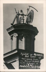 Symbol on Masonic Hall Tower. -25 hand-carved from solid redwood by first master of lodge in 1866 Postcard