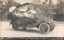 Monrovia's 28th Birthday - Woman in a Car Covered in Flowers - May 16th, 1914 Postcard
