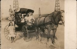 McKittrick Oil Field, Family on Horse Drawn Carriage Postcard
