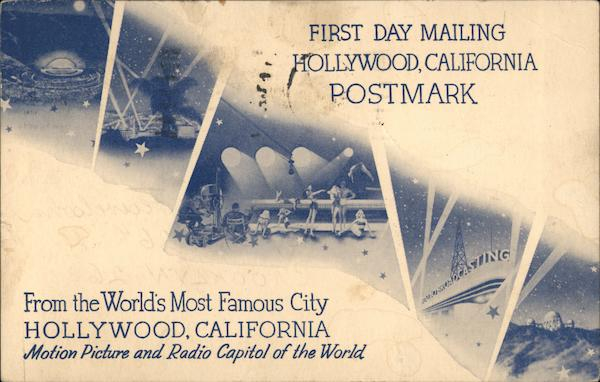 First Day Mailing Hollywood, California Postmark