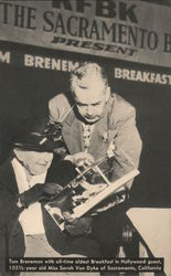 Tom Breneman with all-time oldest Breakfast in Hollywood guest Postcard