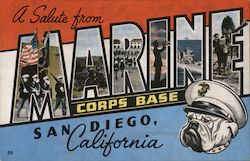 A Salute from Marine Corps Base San Diego Postcard
