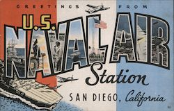 Greetings from U.S. Naval Air Station San Diego, California Postcard